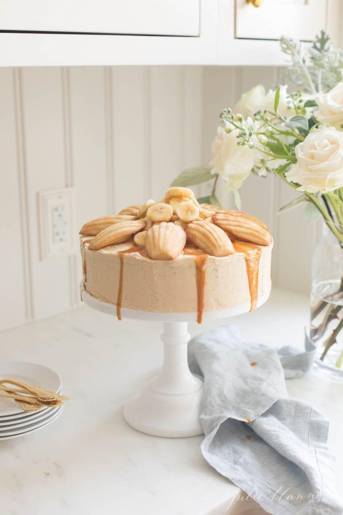 banana cake on a cake stand