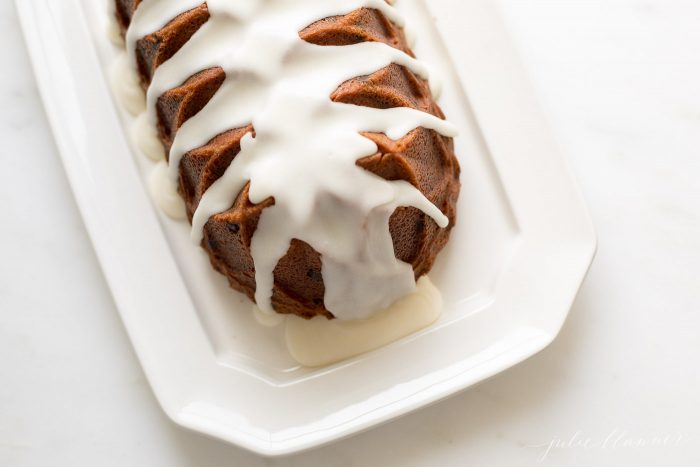 chocolate chip pound cake with icing