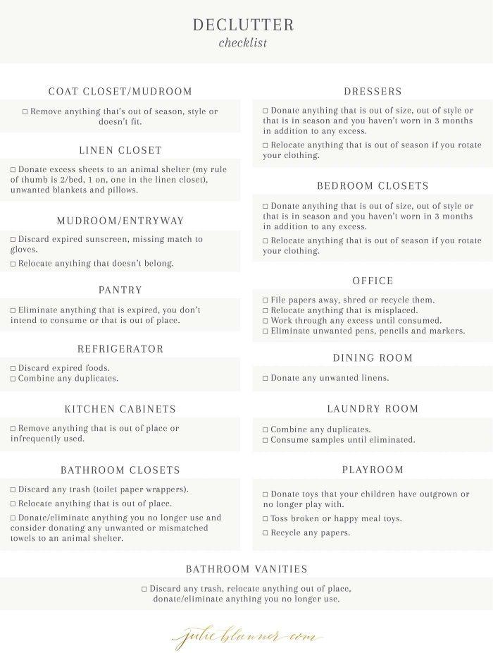 checklist to declutter