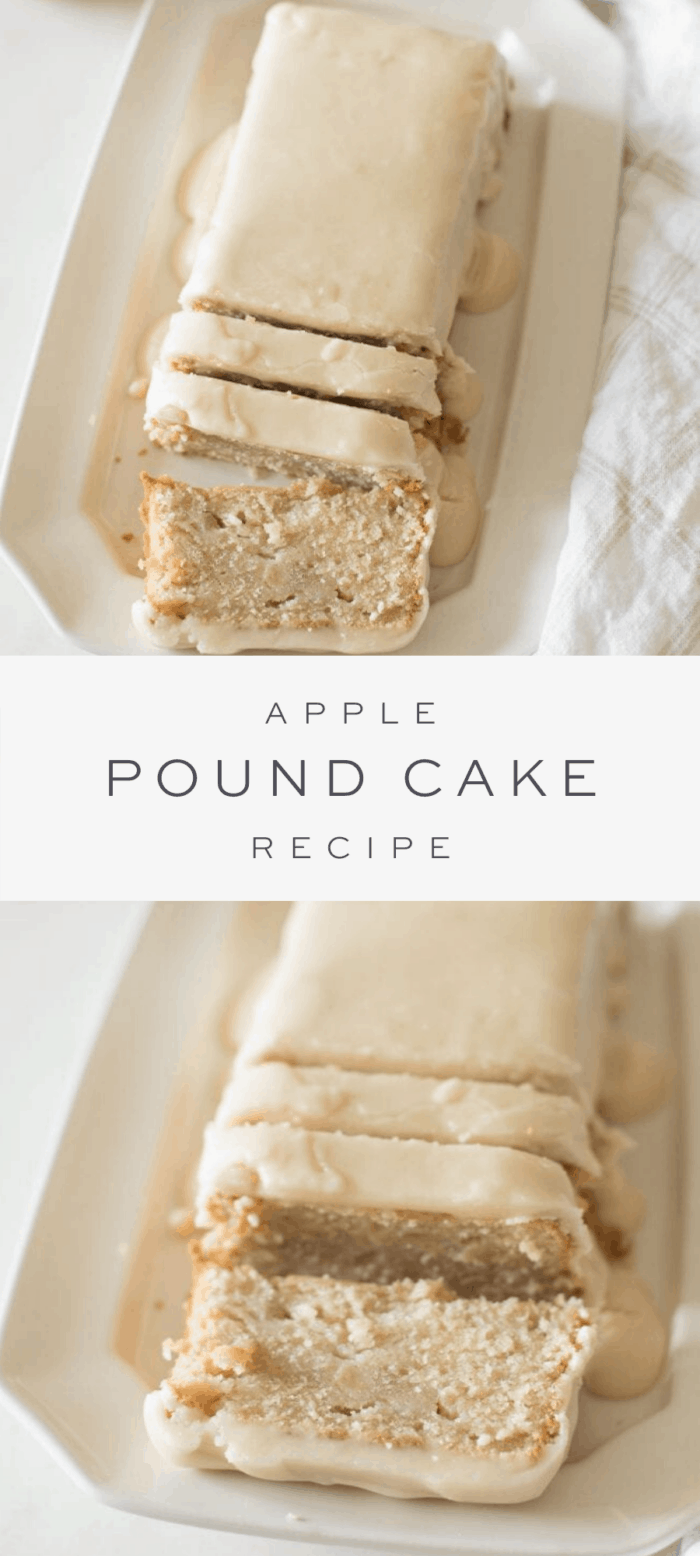 apple pound cake on platter, overlay text, close up of sliced apple pound cake