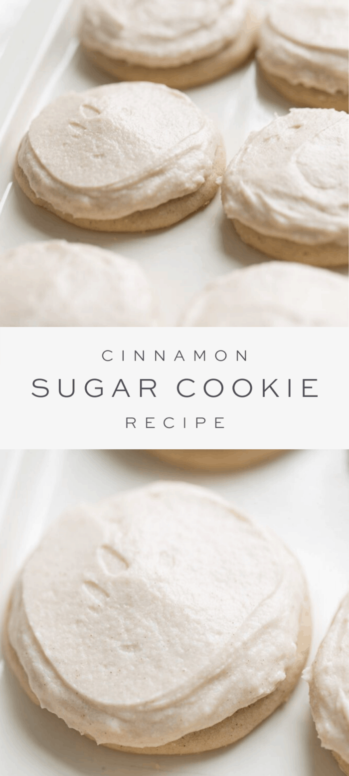 frosted cinnamon sugar cookies, overlay text, close up of cinnamon sugar cookies