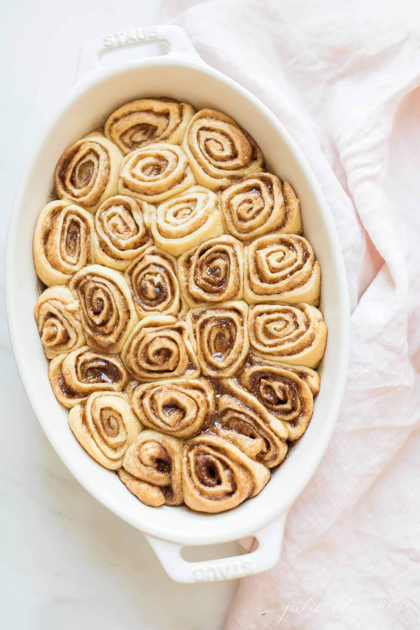 baked cinnamon rolls in casserole dish