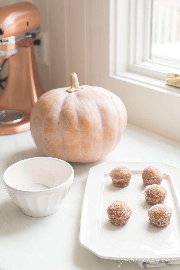 pumpkin muffins in kitchen