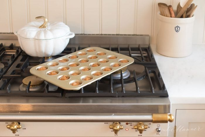 A tray on the oven
