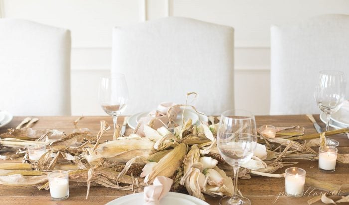 roses corn husks and wheat centerpiece