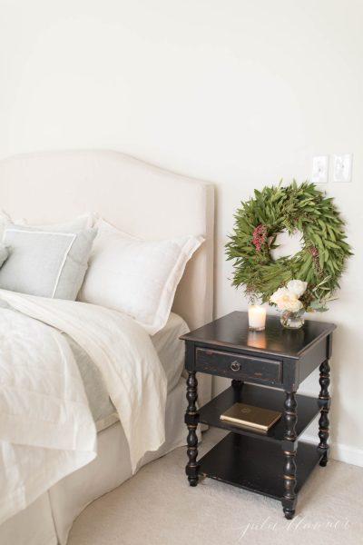 wreaths in christmas bedroom