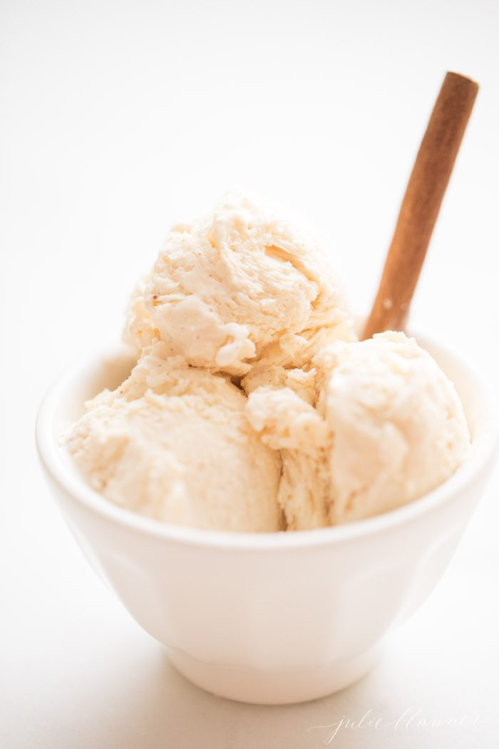 egg nog ice cream with cinnamon stick
