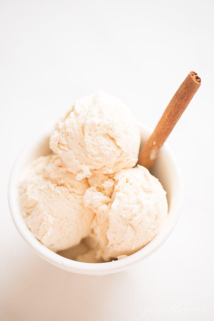 egg nog ice cream in bowl
