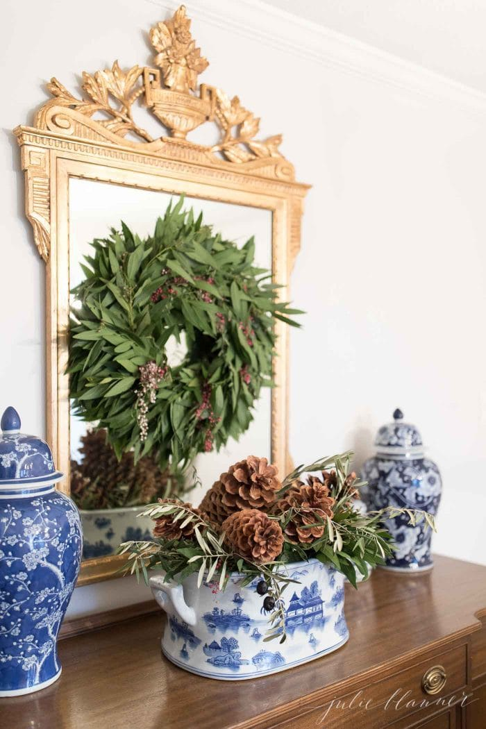 christmas house tour pine cones and wreath