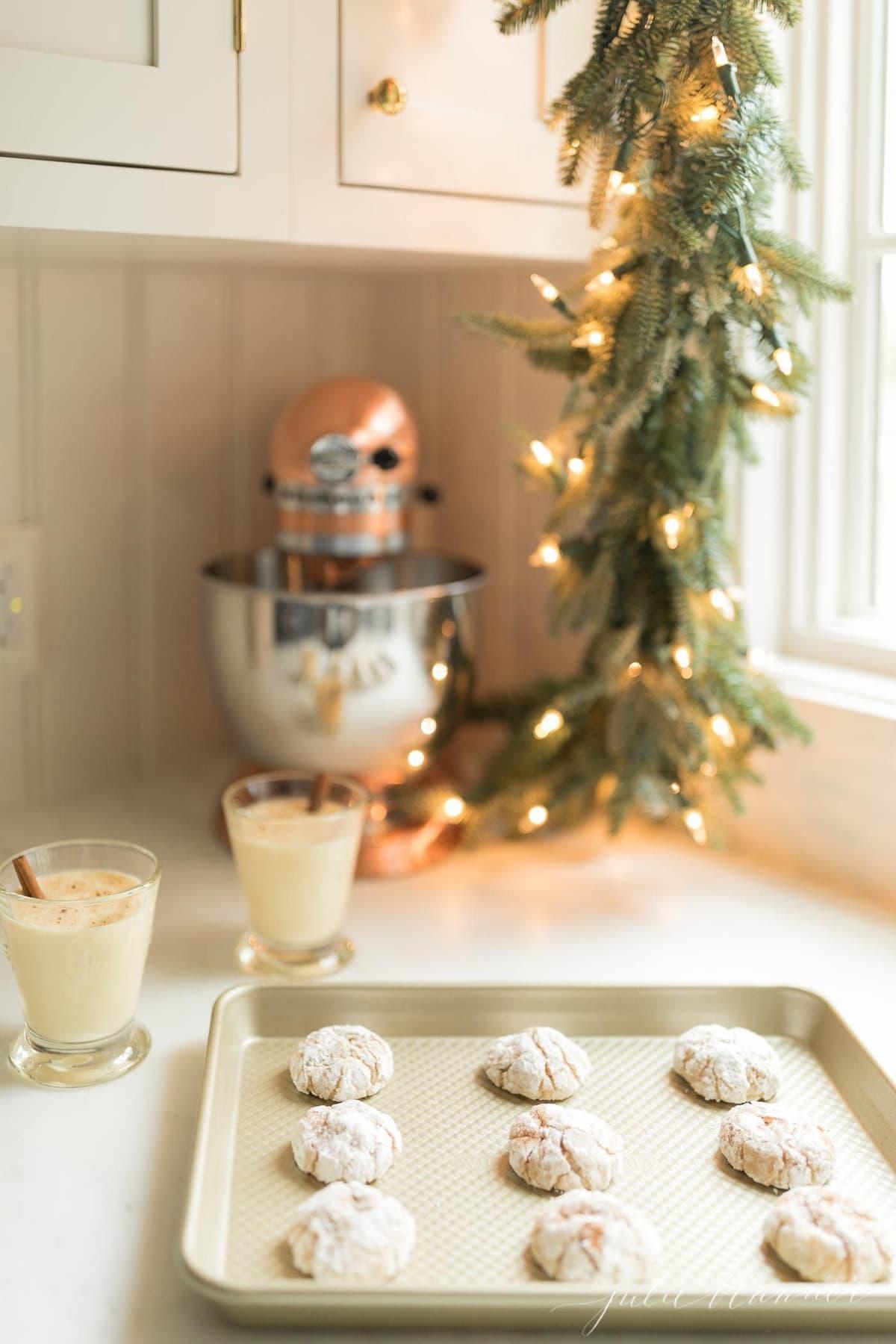 eggnog gooey butter cookies on a kitchen counter top