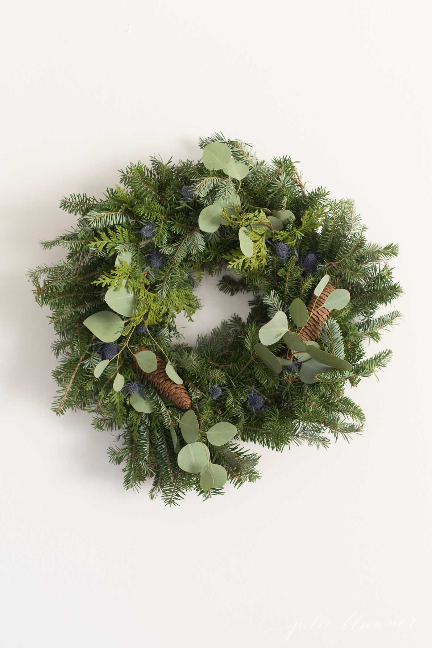 christmas wreath made of fresh greenery.