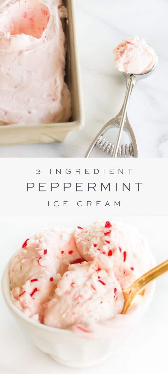 peppermint ice cream in loaf pan with ice cream scoop, overlay text, close up of peppermint ice cream in dish