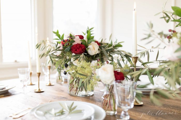 christmas arrangements on table
