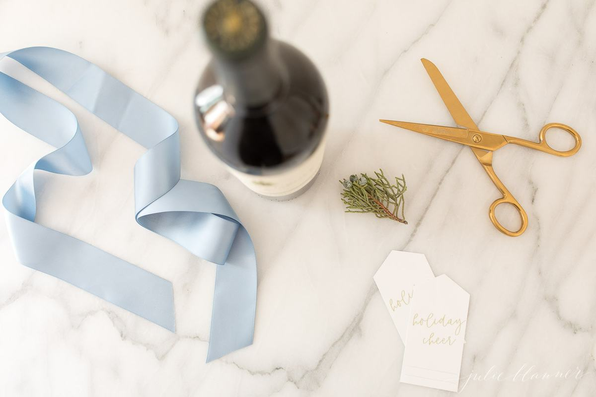 printable christmas wine gift tag