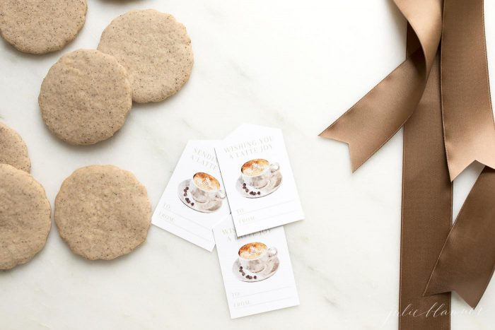 latte cookies with gift tags