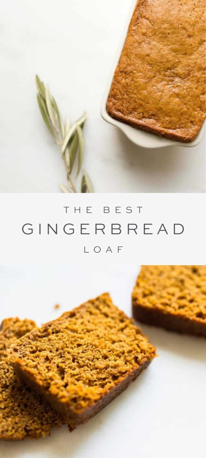 loaf of gingerbread and piece of fresh spice, overlay text, slices of gingerbread loaf