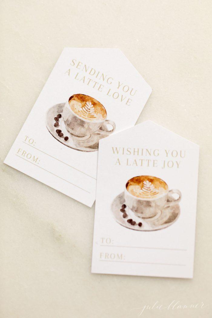 christmas gift tags latte