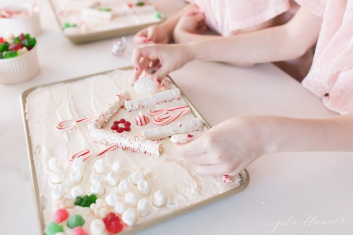 christmas tradition candy house cake
