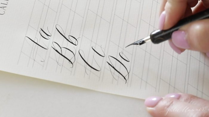 lifting pen between strokes on calligraphy letter