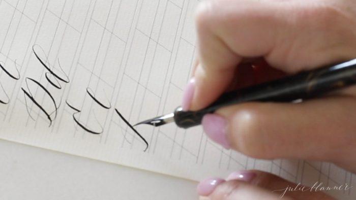 calligraphy letters adjusting pressure