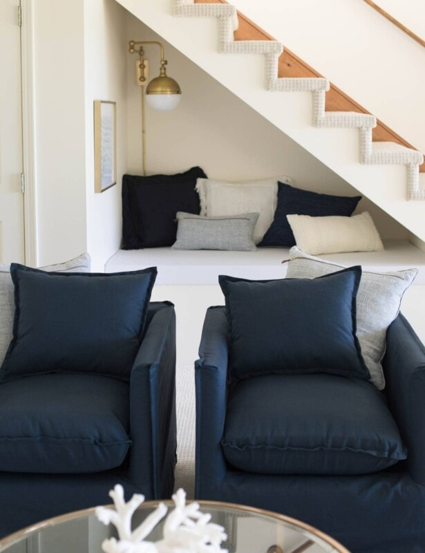 open staircase with kids reading nook