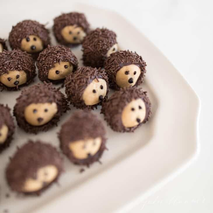 Chocolate and peanut butter buckeye balls shaped into hedgehogs on a white platter.