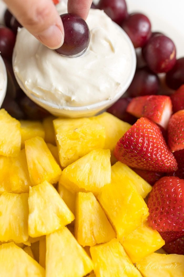 fruit plate with fruit dip