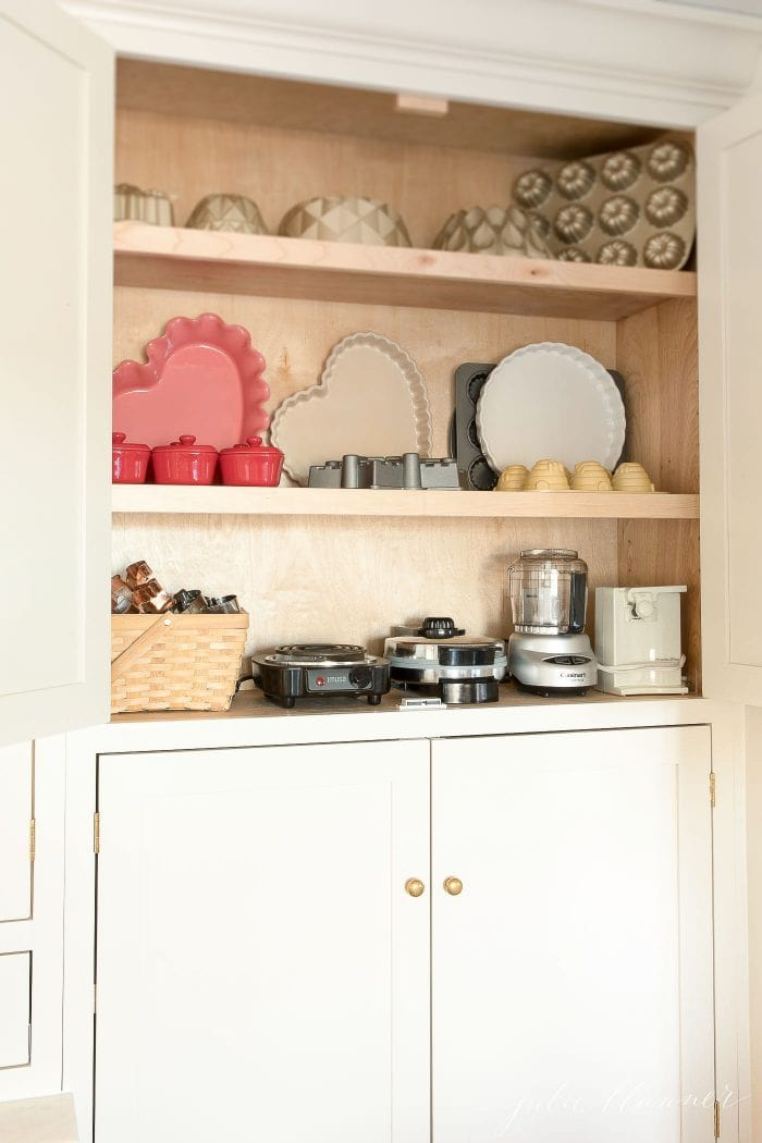small appliances in cabinet
