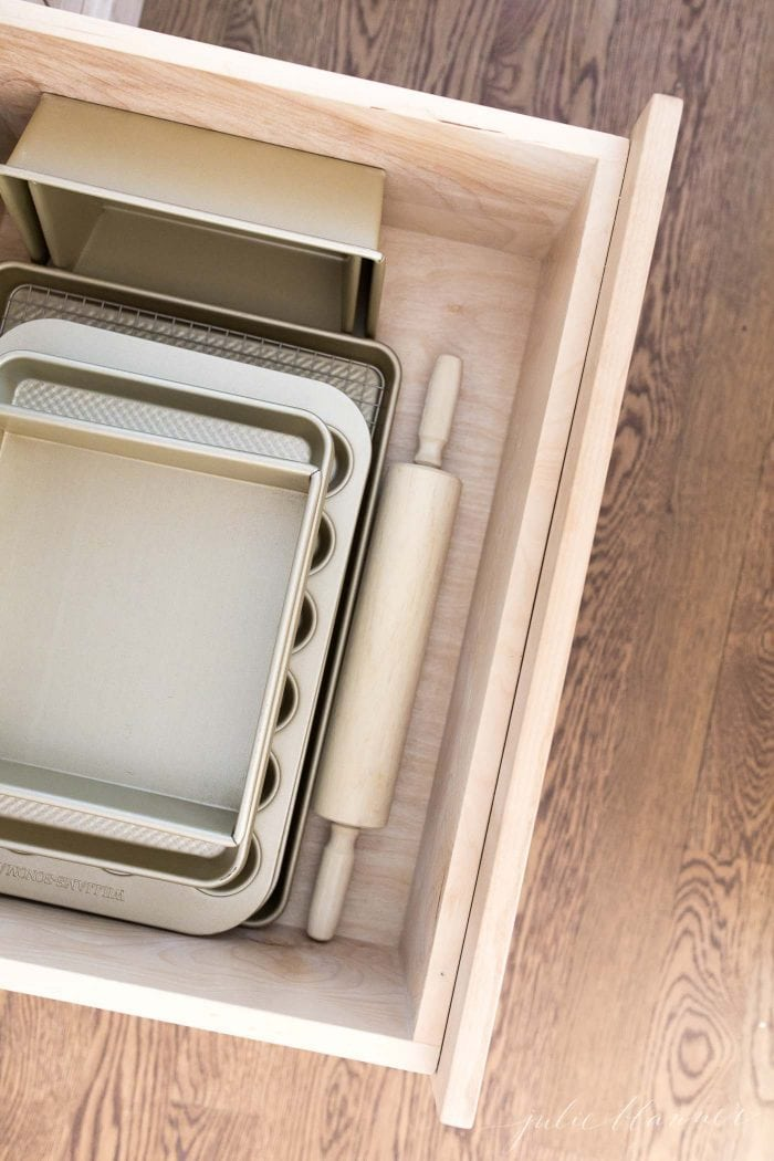 baking sheets in drawer