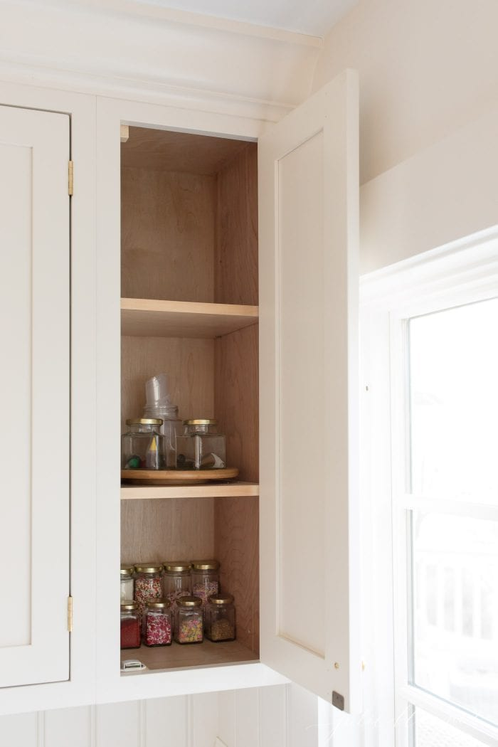 kitchen organization cabinet with empty space