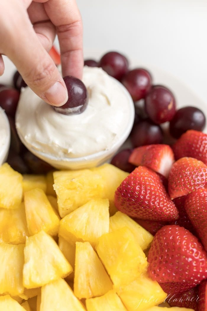 creamy cream cheese fruit dip with marshmallow fluff