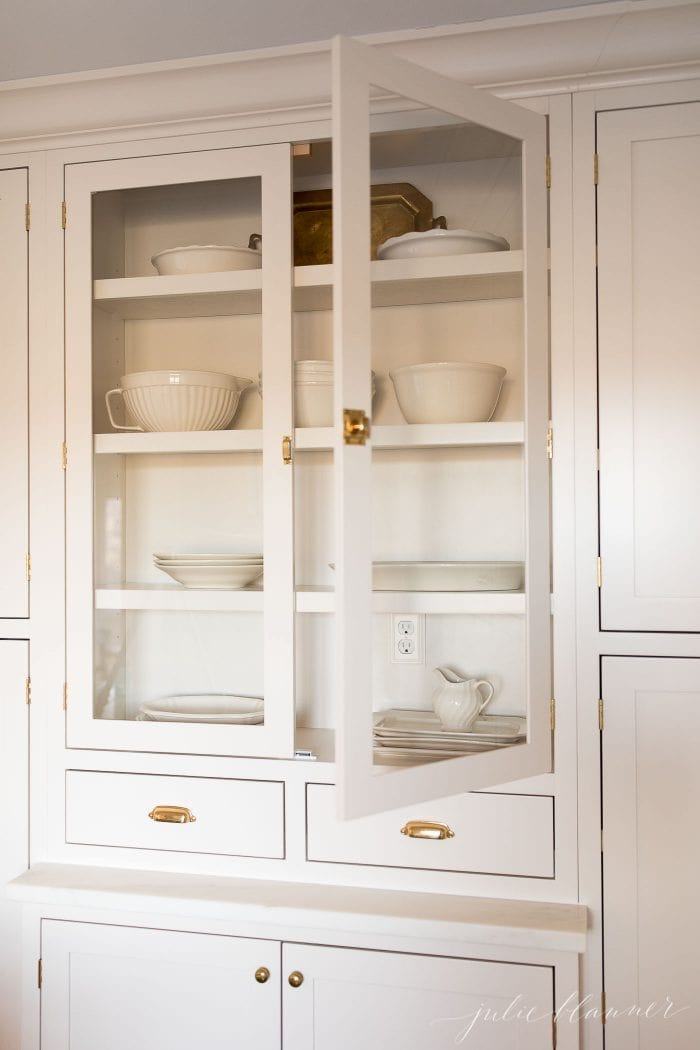 kitchen organization hutch with platters