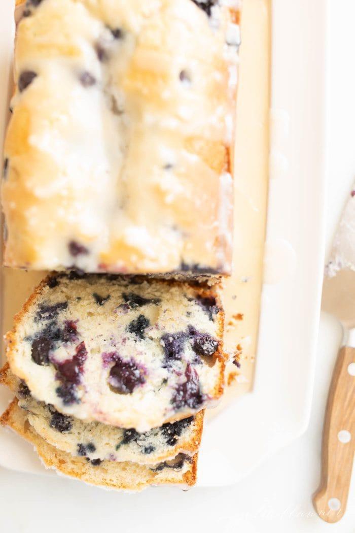 blueberry bread with glaze