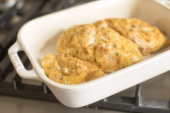 breaded chicken piccata in casserole dish