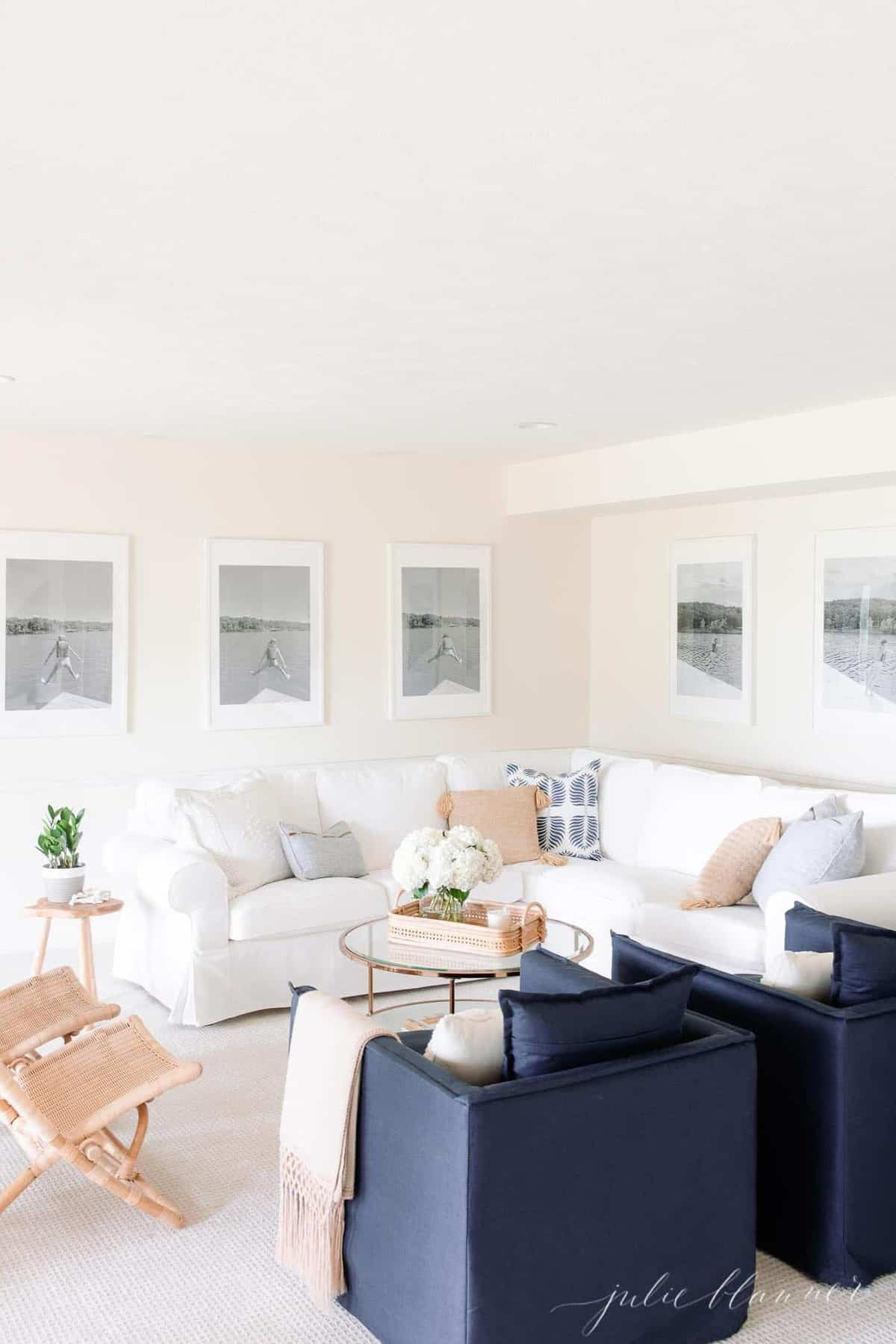 white and blue living room with lake flair