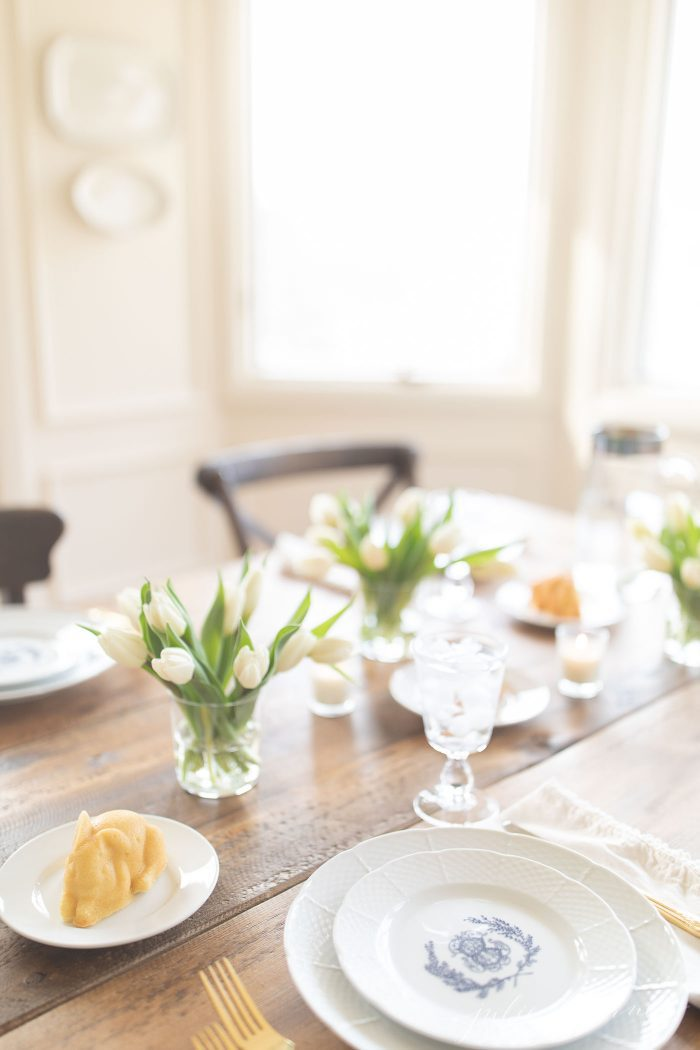 easter table with tulip centerpiece