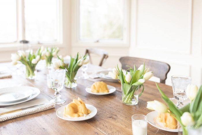 tulip centerpiece easter table setting
