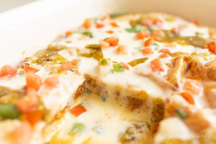 Casserole dish with Mexican Breakfast Casserole