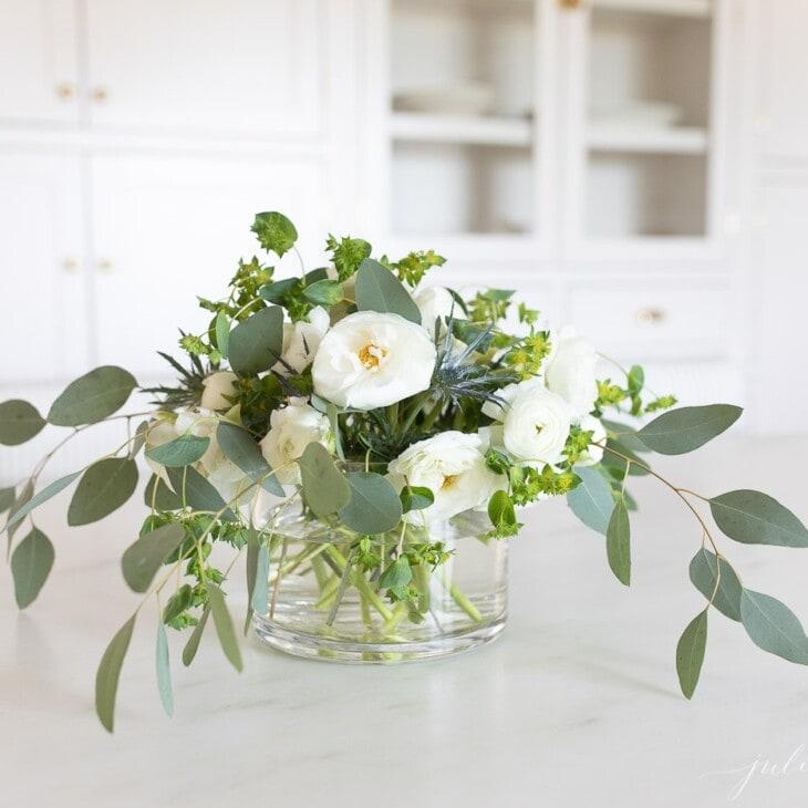 white ranunculus centerpiece