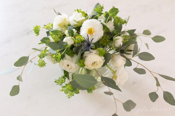White Ranunulus, Ranunculus Centerpiece