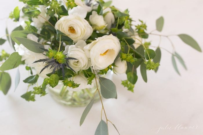 White Ranunculus arrangement