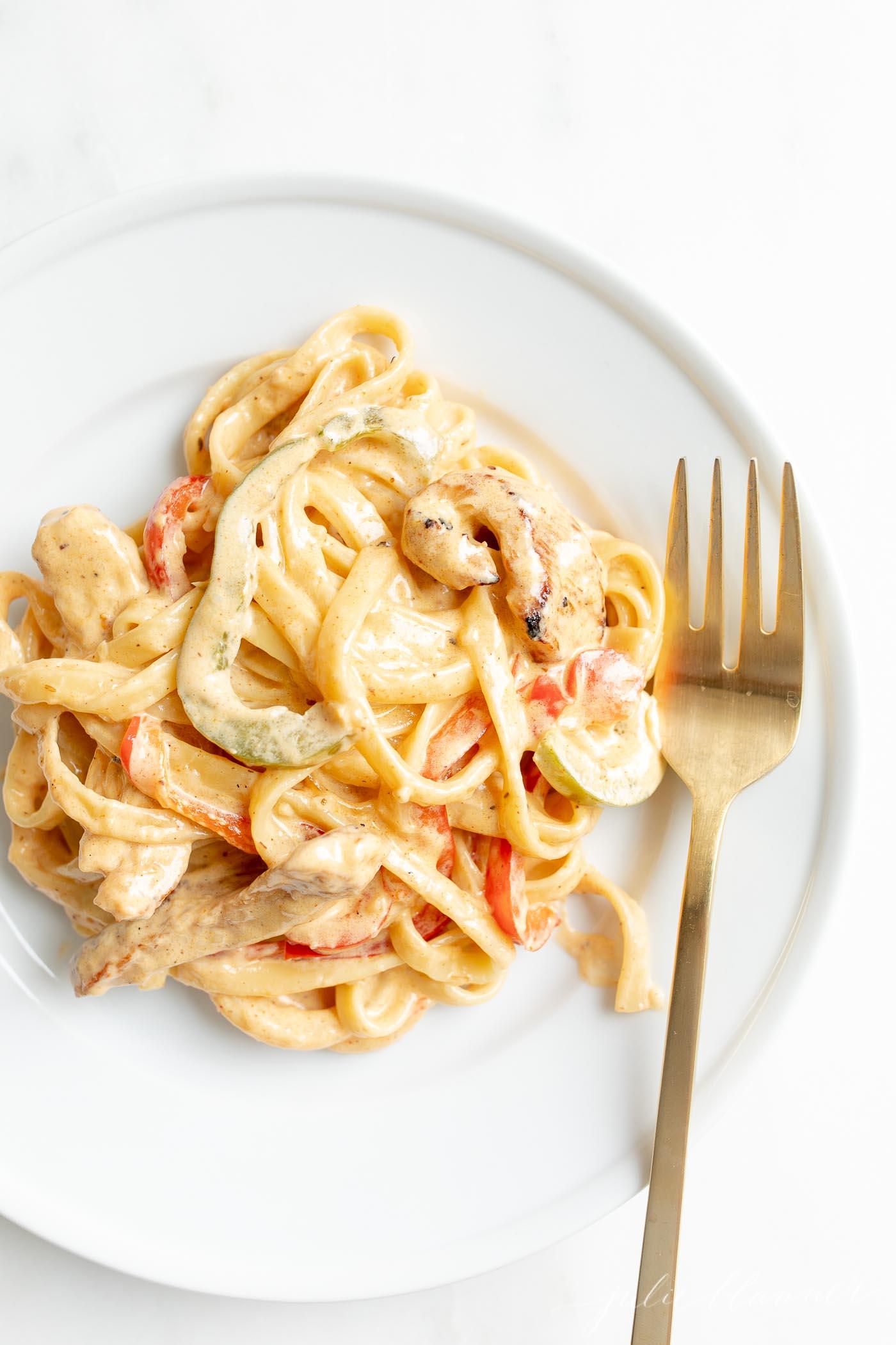 creamy chicken pasta on a plate