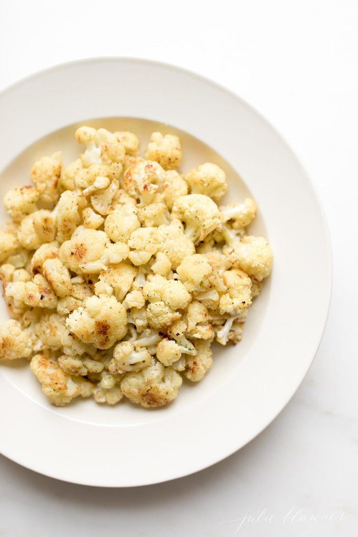 roasted cauliflower in serving dish