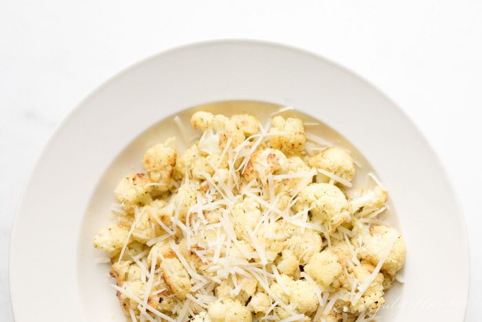 roasted cauliflower in a serving bowl