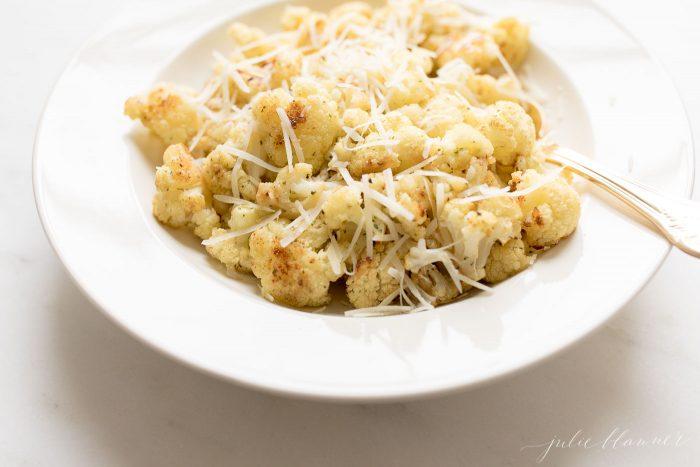 roasted cauliflower with parmesan