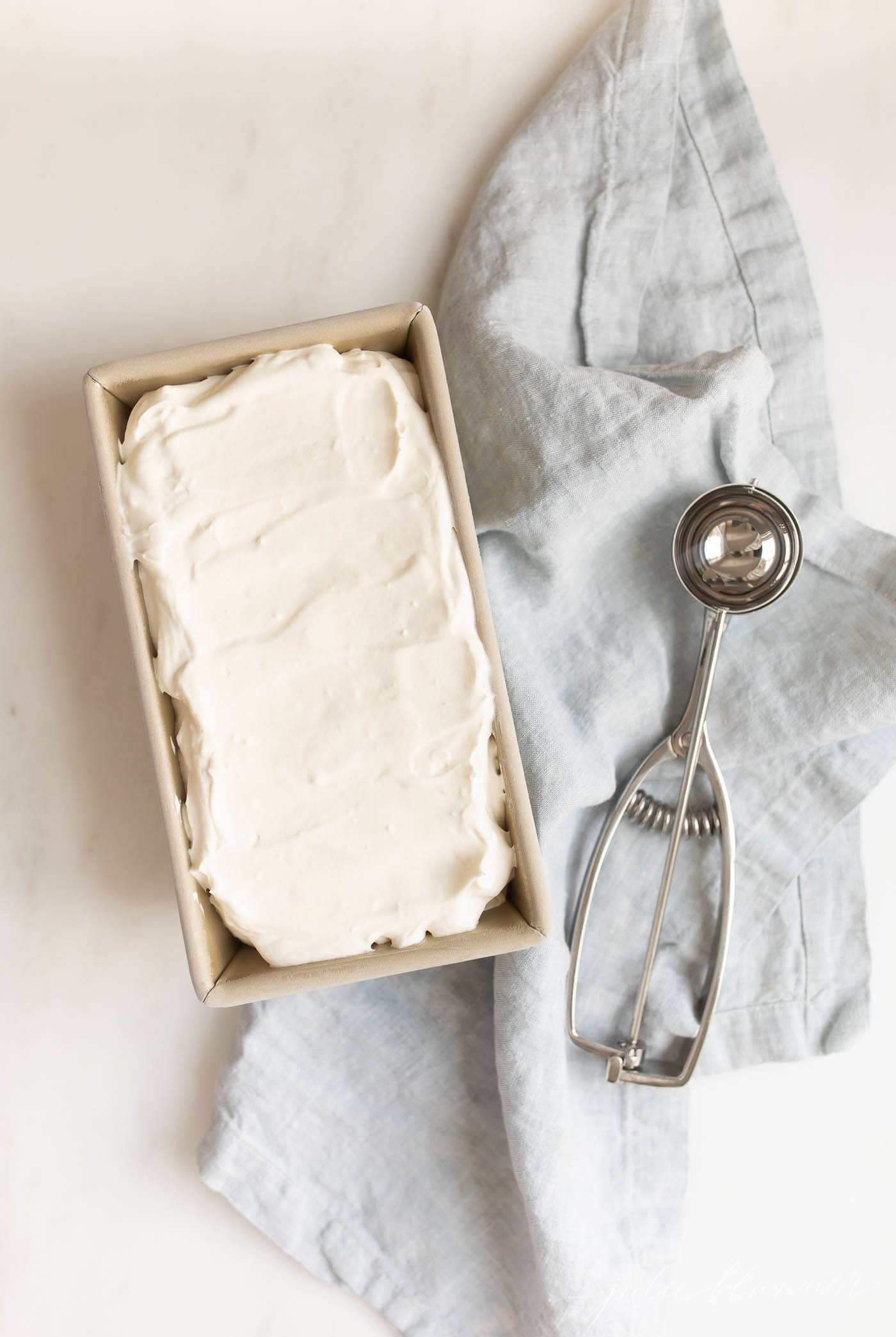 Cream cheese ice cream heading in freezer