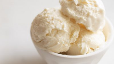 Bowl of cream cheese ice cream