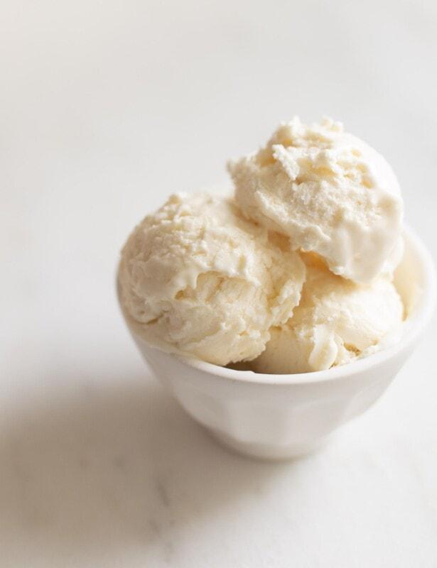 Bowl of cream cheese ice cream