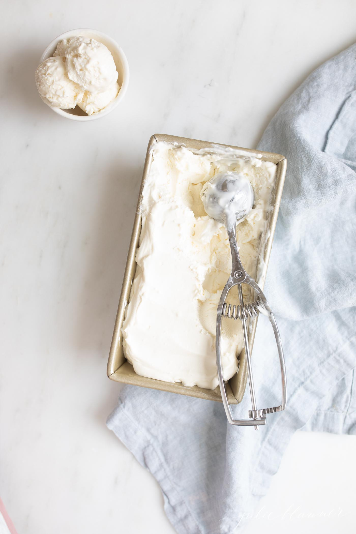 Cream Cheese Ice Cream with scoop
