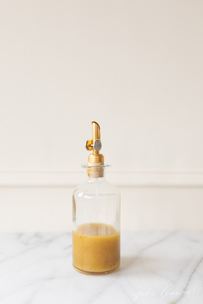 Sherry Vinaigrette in a glass bottle